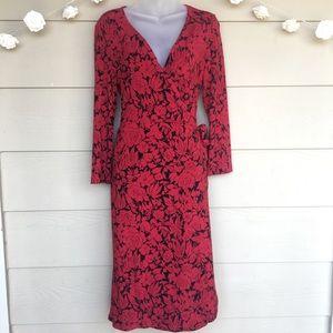 BCBGMaxaria • Red Black Floral Wrap Tie Dress